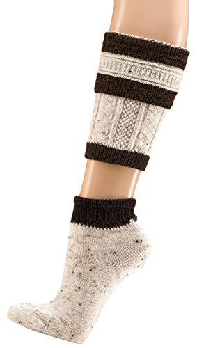 krautwear Herren Trachtenstrümpfe Trachtensocken Loferl 2tlg (Wadenwärmer + Socken) Tweedgarn mit 30% Wolle Wärmend Trachtenmode Oktoberfest Karneval (natbr 43-46)