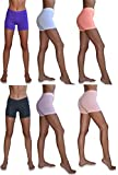 Sexy Basics Women's 6 Pack Cotton Stretch Light Weight Boyshort Boxer Brief Undershorts (6 Pack- Soft Pastels, X-Large)