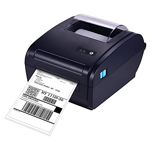 Aibecy Impresora térmica de etiquetas de escritorio para 4x6 Etiqueta de paquete de envío 160mm/s Conexión USB y BT Impresora Etiqueta adhesiva para fabricante de etiquetas Ancho máximo de papel 110mm