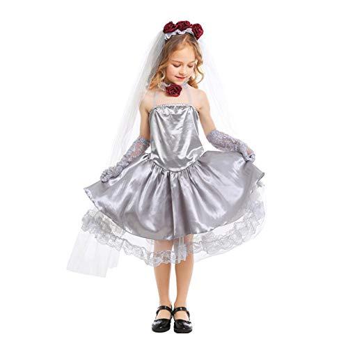 CGBF - Disfraz de princesa fantasma Cosolay para niños, disfraz de novia de zombi, para Halloween, carnaval, fiesta, niñas, vestido de boda, gris, 7 a 9 años