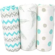 Premium Muslin Swaddle Blankets | 100% Cotton Baby Blanket | Super Soft | Beautiful Gift Box Set | 47 x 47 inches | 3 Pack | Feathers, Chevron & Polka Dots | Gender Neutral Unisex