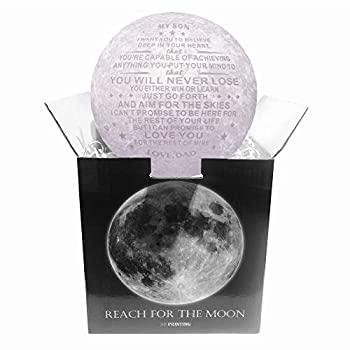ZJFHTD 3D Moon Lamp Best Son Gifts from Dad Engraved with Inspirational Quotes,Cool Globe Light Lamps for Adults Mens Teens Kids Boys from Father