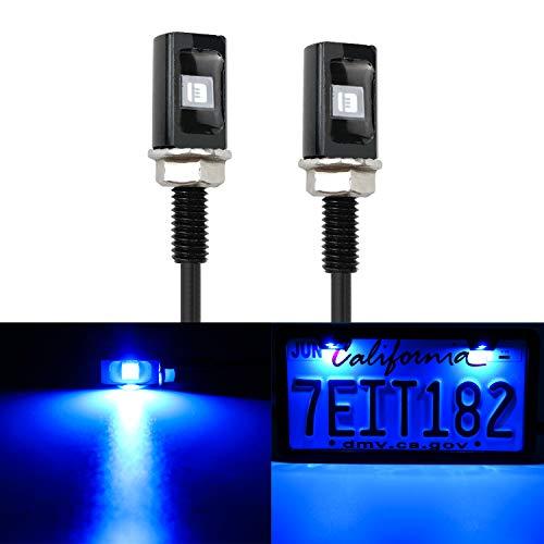 LivTee Super Bright 12V Waterproof Tag Screw Bolt License Plate LED Lights Holder Legal for Car Motorcycle Truck RV ATV Bike, Blue(2PCS)