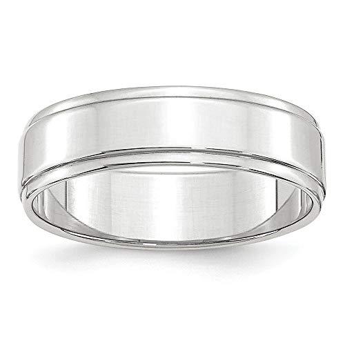 10 kW 6 mm, flach, mit Trittstufe Edge-Band-Größe V 1/2-Ring-JewelryWeb höherer Feingehalt als Gold 9 Karat