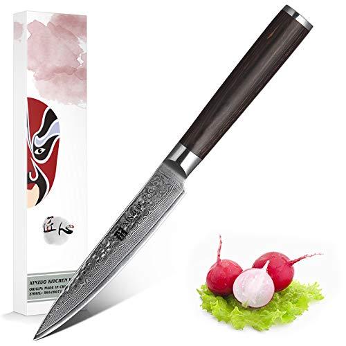 XINZUO Damast Messer Allzweckmesser 12,3cm Japanischen High Carbon VG-10 Damast Edelstahl Chef Küchenmesser Hochwertigem Rasiermesser mit Pakkawood Griff - He Serie