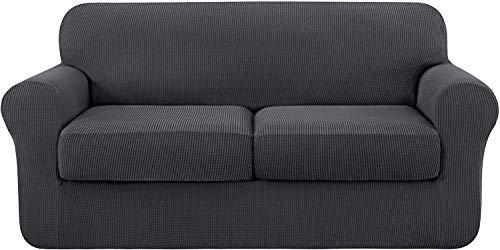 subrtex 2 Plazas Funda de Sofá de con 2 Cojines de Asiento Separados de Alta Elasticidad para Sillón Protector de Muebles Lavables(2 Plazas, Gris)