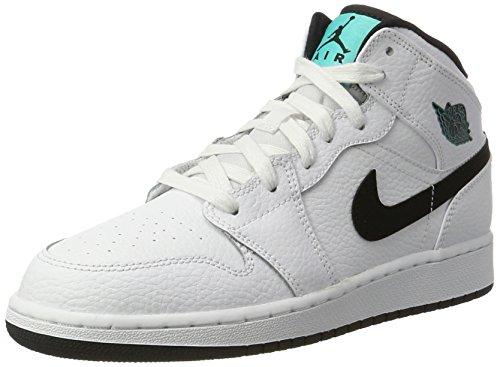 Nike Air Jordan 1 Mid Bg, Scarpe da Basket Bambino, Bianco (White/Black/White/Hyper Jade), 37.5 EU