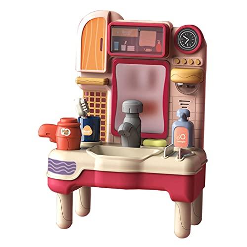Generic Speel Badkamerspeelgoed met Water Wasbak, Speel Ijdelheid Gootsteen Speelgoed met Föhn & Amp; Kam voor Kinderen Kinderen - Roze Een
