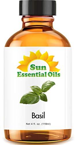 Basil Essential Oil (Huge 4oz Bottle) Bulk Basil Oil - 4 Ounce