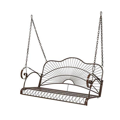 Mesa de Cama, 2 Personas Metal Porche Swing sillero Patio al Aire Libre Colgante Asiento Asiento Patio Muebles