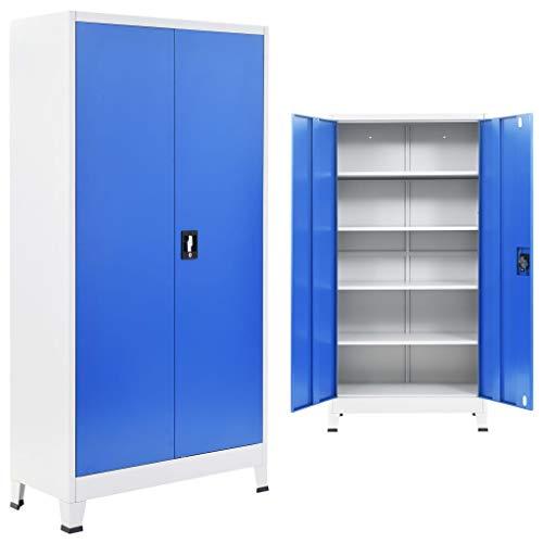 mewmewcat Armario de Metal de Oficina con 4 Estantes Ajustables Gris y Azul 90x40x180 cm