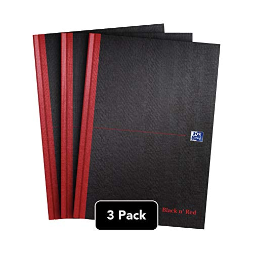 Oxford Black n\' Red Notizbuch, A4, fester Einband, Hardcover 3er-Pack A4