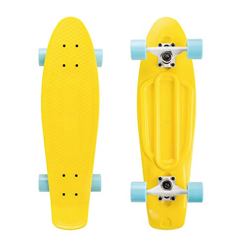 "Alouette 27"" Mini Style Skateboard Cruiser Complete Board Plastic Deck High Rebound Bearing PU Wheels for Kids Girls and Boys for Beginner (Yellow(BlueWheel), 27)"