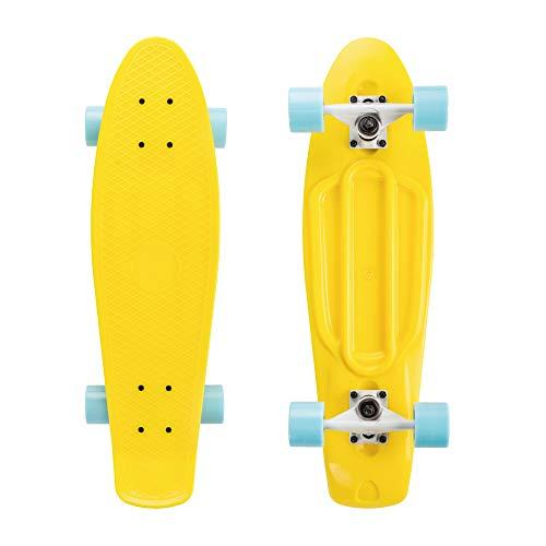 SKATEBOLT Alouette Mini Penny Skateboard Cruiser Tavola Completa per Bambini Ragazze e Ragazzi per Principianti Plastica Deck Alto Rebound Cuscinetto Ruote PU (Giallo-Blu 55,9 cm)