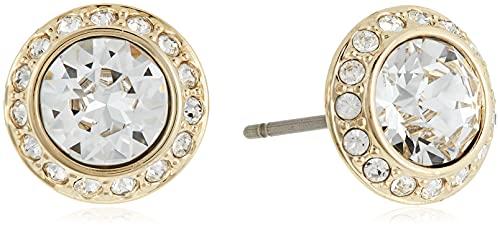 Swarovski Pendientes de botón Angelic, blanco, Baño en tono Oro
