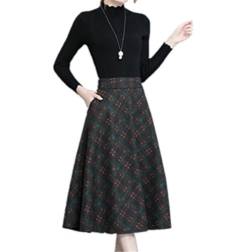 SDHEIJKY Plus Size Skirt Women Winter Skirt Vintage Zipper High Waist Maxi Skirt
