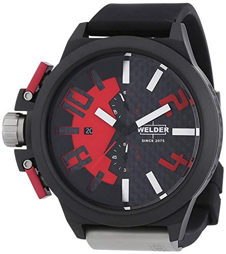 Welder by U-boat K35 Oversize Chronograph Black PVD Steel Mens Watch Red...