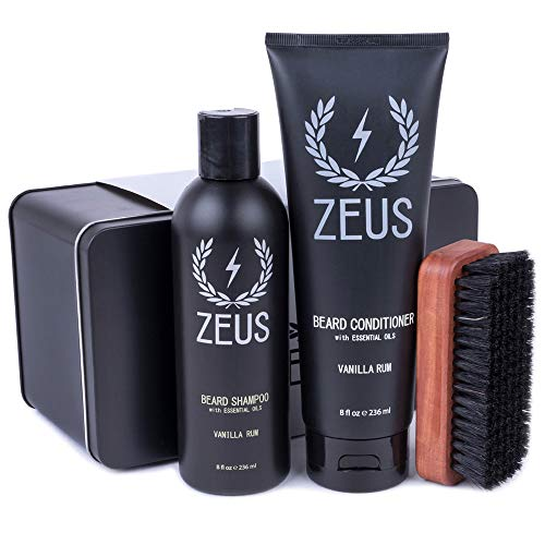 Zeus Basic Beard and Mustache Grooming Kit for Men - Beard Care Starter Kit to Help with Itching and...