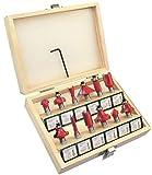 AERZETIX - Set di 12 punte per trapano frese da legno con scatola - Ø8mm - acciaio - colore argento e rosso - C47772