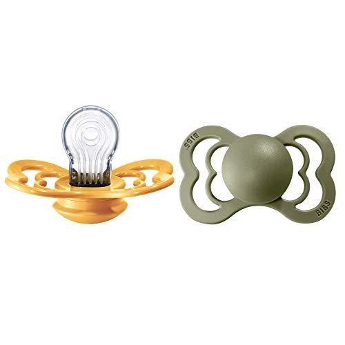 BIBS Supreme Ciuccio confezione da 2 pezzi. Privo di BPA, Tettarella simmetrica. Silicone, Misura 2 (6-18 mesi), Honey Bee / Olive