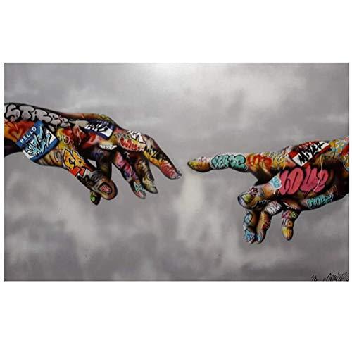 OUER Affiche Pop Art Graffiti Street Art Peinture Impression sur Toile Art Urbain Wall Tableau Photos pour Une Salle De Séjour Décoration,60 * 90cm