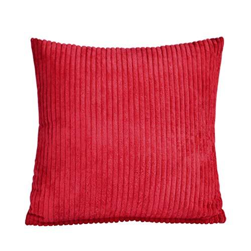 WLGQ Funda de cojín de Pana, Funda de cojín Cuadrada de Terciopelo a Rayas Suaves Decorativas para sofá Cama (Rojo sin núcleo de Almohada)