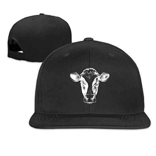 Voxpkrs Face of A Cow Flat Bill Brim Adjustable Snapback Hats Caps Baseball Cap for Men & Women Q8S3S686