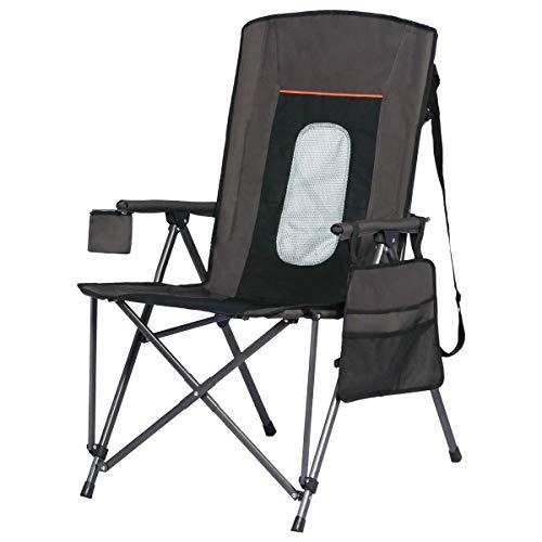 Portal Oversized Quad Folding Camping Chair High Back Cup Holder Hard Armrest Storage Pockets Carry Bag Included, Support 300 lbs, Black