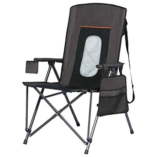 Portal Oversized Quad Folding Camping Chair High Back Cup Holder Hard Armrest Storage Pockets Carry Bag Included, Support 300 lbs, Black