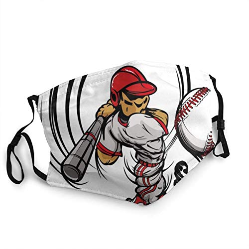 Gesichtsbedeckung Baseball-Cartoon-Spieler, der den Ball schlägt Jungen-Kinder-Karikatur Wiederverwendbar