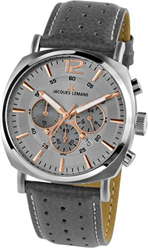 JACQUES LEMANS Herrenuhr Lugano Lederarmband massiv Edelstahl Chronograph 1-1645.1L