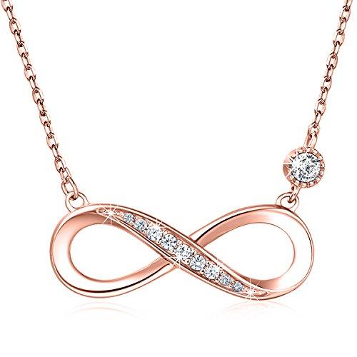 """925 Sterling Silber Halskette - Billie Bijoux\""""Endless Love\"""" Infinity Herz Anhänger weißes Gold überzogene Diamant Frauen einstellbare Halskette (Roségold)"""