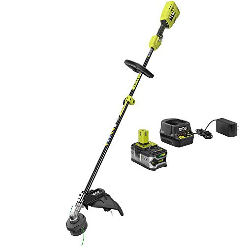 RYOBI P20110 ONE+ 18-Volt Lithium-Ion Cordless Attachment Capable Brushless String Trimmer, 4.0 Ah Battery and Charger Included