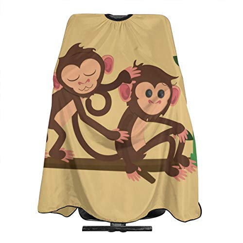 HZWMKJ Hair Barber Cape Jungle Monkeys Playing Swing Professional Hairdressing Haircut Hair Styling Supplies Tool for Women Men Kids