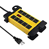Industrial Metal Power Strip, 10 Outlet Heavy Duty Power Strip, Workshop Power Strip with 5.9FT 14AWG/3C Power Cord, 15A Circuit Breaker, Electrical Rating AC 15A 125V 60HZ 1875W ETL Listed