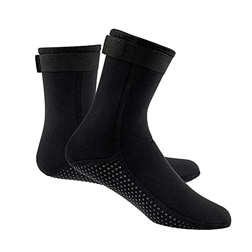 QAOSHOP 3mm Snorkeling Socks Water Fin Socks, Diving Socks with Adjustment Straps for Beach Swimming Boarding and Water Sports,Black,XS