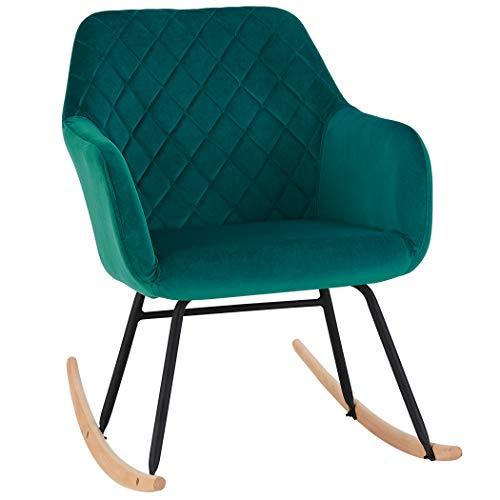 Rocking Chair Fabric Velvet Rocker Retro Design Relax Chair Armchair with Metal and Wood Legs Colour Selection Duhome 8026Y, colour:teal, material:Velvet