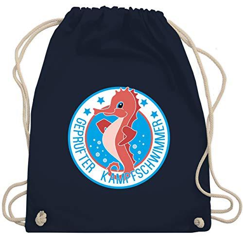 Sport Kind - Seepferdchen Schwimmer - Unisize - Navy Blau - WM110 - Turnbeutel und Stoffbeutel aus Bio-Baumwolle