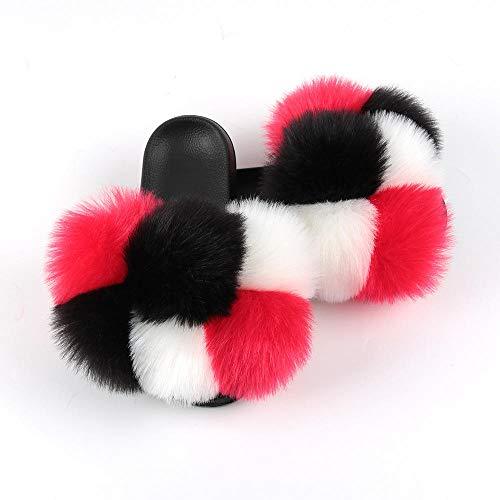 N/A Jelly Flip Flops für Frauen, Haarball-Hausschuhe, Damen-Hausschuhe, modische Flache Hausschuhe-9_ (260) 38-39