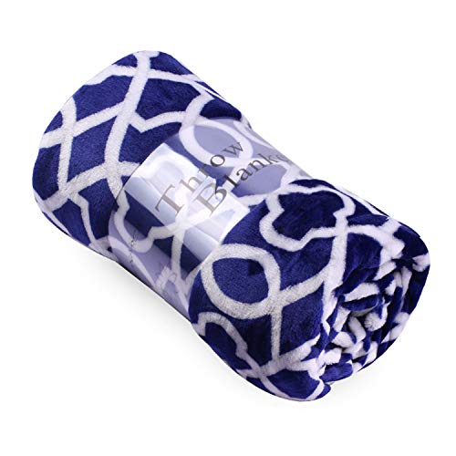"""Throw Blanket for Couch or Bed – Super Soft Warm Lightweight Plush Fleece Microfiber Throw Blanket 50"""" x 60""""(Throw, Navy Crown)"""
