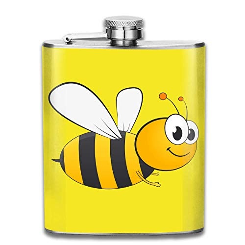 Lovely Bee Fashion Portable Stainless Steel Hip Flask Whiskey Bottle for Men and Women 7 Oz