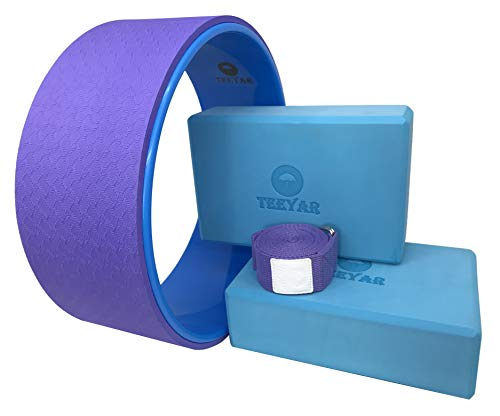 ヨガホイール ヨガブロック ヨガストラップ キット(Yoga Wheel Yoga Block Strap Set) (バイオレット ブルー)