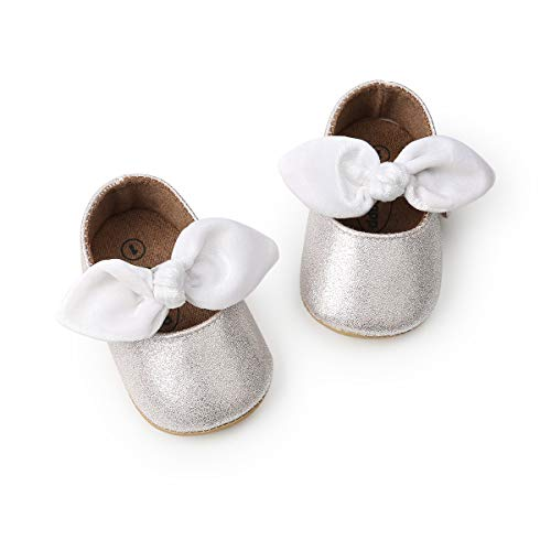 DOTBUY Leinwand Baby Schuhe Neugeborene Baby Mädchen Schuhe Kleinkind Bowknot Prinzessin Schuhe Weich Sohle Anti-Rutsch Lauflernschuhe Krippeschuhe (12cm / 6-12 Monat, Silber)