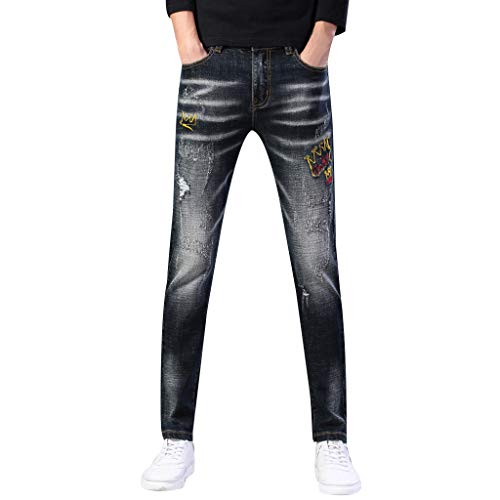 cinnamou Jeans Hosen für Männer Stretch Jeans New Zip Jeans Slim Fit Bedruckte Buntfalten Hosen Pash Jeans Lange Mode