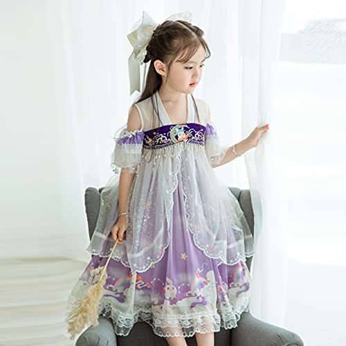 ZHFYY Vestido de Traje Hanfu de Estilo Chino Bordado para niñas de Verano 2021 130 Lightpurple