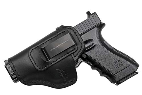 MAYMOC IWB Funda de Cuero, Funda de Pistola para Glock 17 19 22 23 26 / Sig Sauer P226 P229 SP2022 / Springfield XD XDS XDM/S & W M&P Shield 9MM