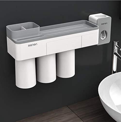 New Calistouk Soporte Cepillo de Dientes adsorción magnético Accesorios baño Estante Almacenamiento de Pasta de Dientes (3 Tazas con Dispensador de Pasta)