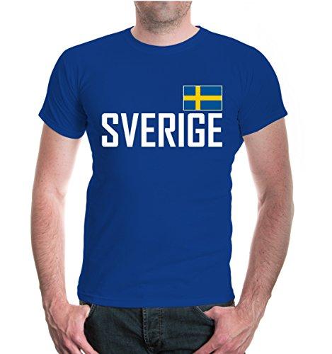 buXsbaum Herren T-Shirt Schweden | Sverige Sweden Suede Suecia Europa | Ländershirt Fanshirt | L, Blau