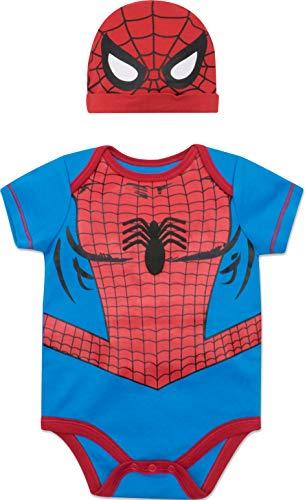Marvel Spiderman Baby Boys Costume Short Sleeve Bodysuit & Cap Set Blue, 3-6 Months