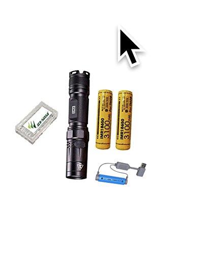 Combo: Nitecore EC23 CREE XHP35 HD E2 linterna LED -1800 lúmenes con 2 baterías 10A 3100mAh 18650, cargador magnético USB Folomov y organizador de batería Eco-Sensa gratis.
